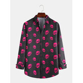 Halloween Scary Skeleton Impreso Casual Camisas de manga larga