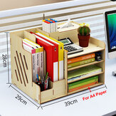 Large Wooden Storage Box File Holder Office Pen Book Desktop Organizer Storage Box with Drawer Stationary Container