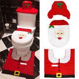 3pcs Natal Xmas Decoração Santa Toilet Seat Cover + Rug Banheiro Mat Set Floor Mat