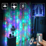 3M*2M USB 8 Modes Remote Control 200 LED Curtain String Light with 10 Hooks Festival Christmas Wedding Decor