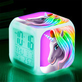 7 Colors Changing Unicorn LED Digital Alarm Clock Thermometer Date Time