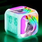 7 colori che cambiano Unicorn LED Sveglia digitale Termometro Data Ora