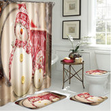 4Pcs Christmas Bathroom Non-Slip Rug+Lid Toilet Covers Bath Mat+Shower Curtain