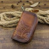 Portefeuille de sac de clé de voiture imprimé vintage en cuir véritable pour homme