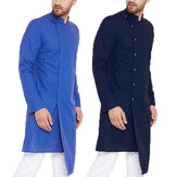 Mens Long Sleeve Grandad Neck Kurta Shirt Button Front Ethnic T Shirts Kaftan US
