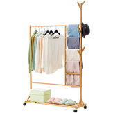 Wooden Garment Rack Storage Coat Cloth Stand Shoe Bag Hat Hanger Bamboo Holder