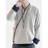 Camisas de manga larga de estilo étnico retro de estilo chino para hombres