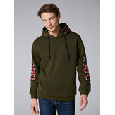 Mens Embroidery Snake Printed Insert Pocket Long Sleeve Hood