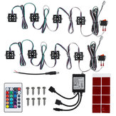 8Pcs RGB 48 LEDs Rock Car Decoration Lights Truck Bed Under Body Light Kit + IR Remote Control