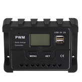 12V/24V Display PWM Solar Controller 10-30A Solar Charge Controller Dual USB IP30 Waterproof
