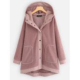 Plus Size Women Winter Patchwork Fleece Hooded Coats
