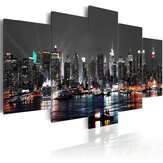 5 PCS Enorme New York Noite Pintura Da Lona Pintura Pinturas Pictures Art Wall Home Decorations