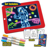 3D Magic Drawing Pad LED Writing Tablet Board For Plastic Creative Art Magic Board Pad With Pen Brush Children Clipboard Gift Set - Red