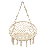 Mesh Hanging Hammock Woven Rope Holzstange White Swing Patio Chair Sitz Eisenring + Cotton Rope Mesh Hanging Basket