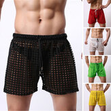 Men Mesh Transparent Boxer Respirável Briefs ShortsTrunks Cueca Shorts