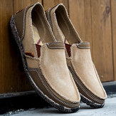 Men Washed Canvas Splicing Soft Slip On Shoes