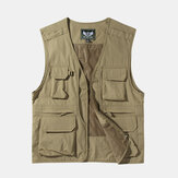 Mens Outdoor Multi Bolsos Zipper Single Breasted Vest