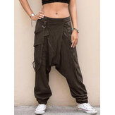 Women Solid Elastic Waist Button Casual Pants