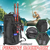Men Large Capacity Outdoor Fishing Tackle Backpack Durable Cylindrical Case Bag