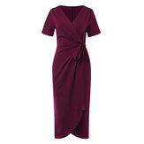 Sukienka maxi z krótkim rękawem i wiązaniem w talii