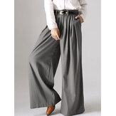 Женщины Solid Button Wide Leg Pocket Causal Брюки