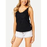 Women V-Neck Lace Patchwork Sleeveless Casual Tank Tops
