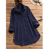 Corduroy Button Lapel Long Sleeve Vintage Plus Size Blouse