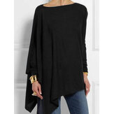 Solid color Crew Neck Irregular hem Long Sleeve Blouse