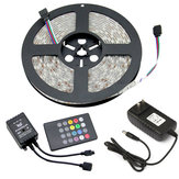 5M DC12V RGB Waterproof Indoor Outdoor Music LED Strip Light + 20 Keys Remote Control + Power Adapter