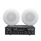 Dual Microphone Input Remote Control One for Two bluetooth Amplifier with Ceiling Speaker Set