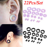 22Pcs/Set Flexible Silicone Ear Flesh Tunnels Plugs