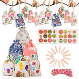 Christmas Countdown Calendar Gift Bag 1-24 Days Pocket Advent Xmas Party Decorations