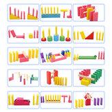 Yaratıcı Ahşap Domino Gökkuşağı Blokları Jigsaw Montessori Eğitici Oyuncaklar Çocuklar için