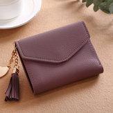 Mulheres borla pequena mini carteira titular do cartão de embreagem bolsa de couro bolsa
