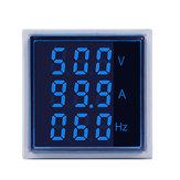5 stücke Geekcreit® 3 in 1 AC 60-500 V 100A Quadratisch Blau LED Digital Voltmeter Amperemeter Hertz Meter Signal Lichter Spannung Strom Frequenz Combo Meter Anzeige Tester Mit Runden CT
