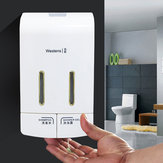 Wall Mounted Double Manual Liquid Soap Dispenser Hand Pressing Lotion Container