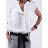 Mulheres sem mangas gola sólida camisas casuais