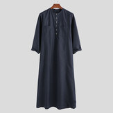 Men Dual Pockets Solid Color Kaftan Henley Long Shirts