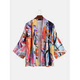 Men's Casual Fashion Print Kimono Cardigan Shirts