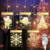 DC5V USB Santa Claus + Bell + Christmas Tree + Snowflake + Snowman 3D LED Hanging Window Curtain String Light