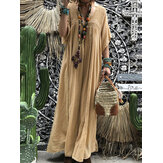 Frauen Kurzarm Hollow Out Robe Kaftan Solid Maxi Kleid