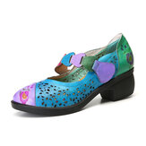 Women Genuine Leather Flower Pattern Hollow Folkways Pumps