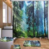 Rideau de bain Rideau de douche lavable en tissu de polyester imperméable avec tissu de polyester et accessoires de crochets