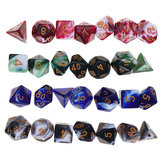28Pcs Dices Multidimensionais Dices Poliédricos Set Board RPG Dice Set 4 Cores Com 4 Sacos