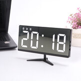 6615 Framless Mirror Clock Touch Control Digital Alarm Clock LED Table Clock Electronic Time Date Temperature Display Office Home Decorations