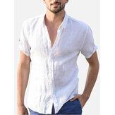 Camisas casuais de verão respirável e confortável de algodão Plus Tamanho simples camisa simples para homens