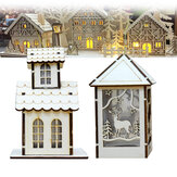 LED Light Wood House Cute Christmas Assembly Party Adornos Decoraciones navideñas