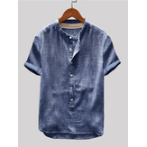 Mens Vintage Cotton Stand Collar Cor sólida Manga curta Loose Casual Henley Shirts