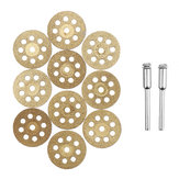 Drillpro 10pcs Diamond Grinding Wheel 8 Holes Metal Cutting Disc for Rotary Tool with 2 Mandrels
