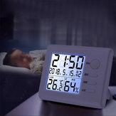 Bakeey LCD Digital Display Termometer Hygrometer Alarm Clock Indendørs Thermohygrometer til hjemmet